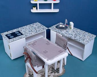 """Dollhouse KITCHEN furniture set 2 cabinet sink Hob table 2 chairs wooden 1:6 playscale Barbie dolls 12"""" miniature accessories role-play game"""