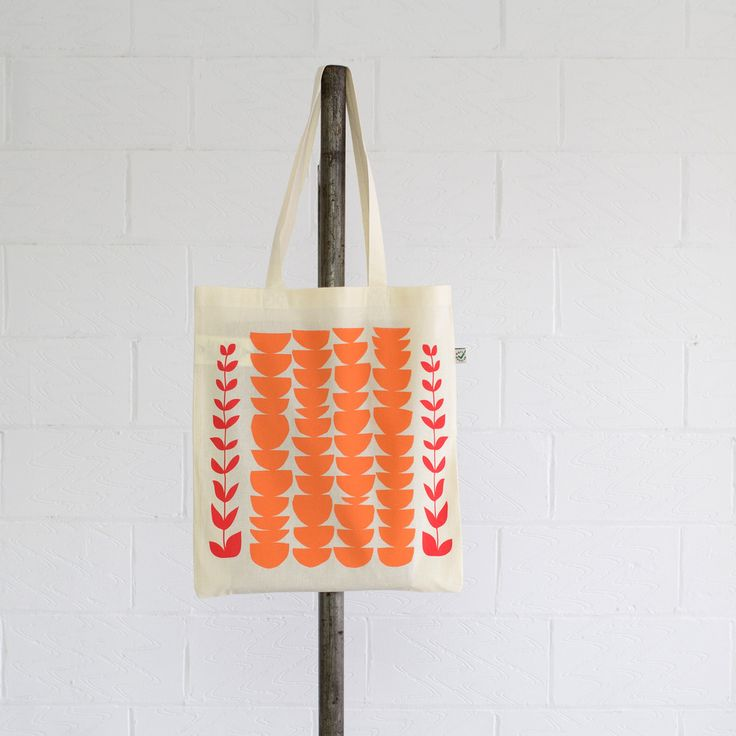 Coral Tote - hand printed with water-based inks, manufactured using renewable solar & wind energy