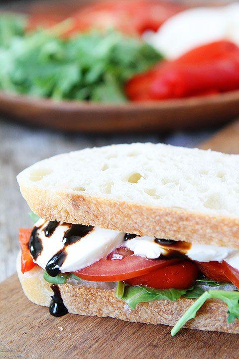 Roasted Red Pepper, Arugula, and Mozzarella Sandwich Recipe on twopeasandtheirpod.com. My favorite quick and easy sandwich! #recipe