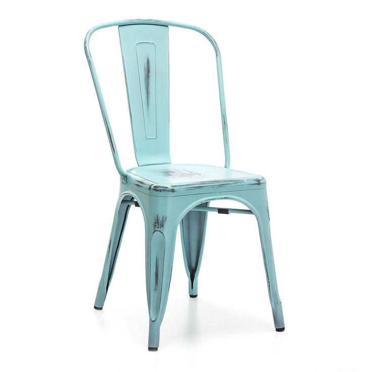 Stuhl aus Stahl im abgenutzten Vintage-Stil.     Drei Farben verfügbar.     Im Industrie-Vintage-Stil, ideal für Küchen oder Esszimmer.     Passt sich…