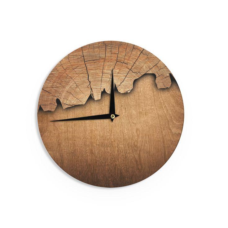 """Susan Sanders """"Natural Wood"""" Rustic Nature Wall Clock"""