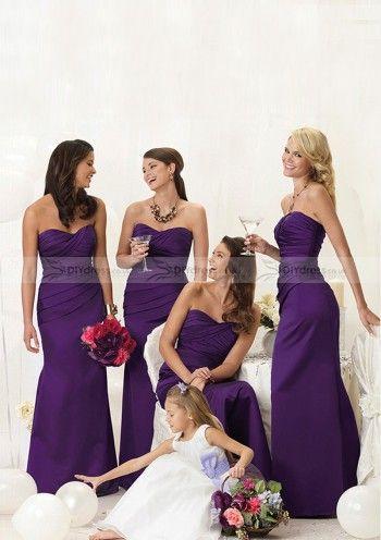 Vogue Sheath Sweetheart Pleated Zipper Back Satin Floor-Length Bridesmaid Dresses