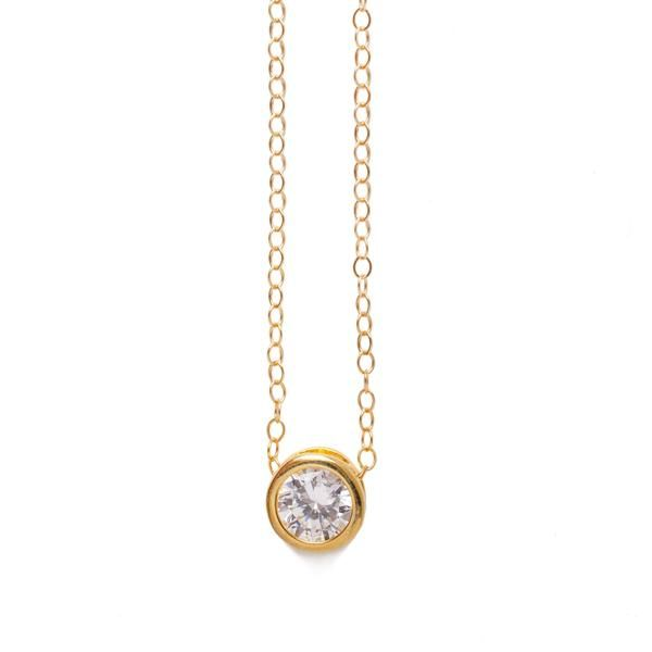Gold Cubic Zirconia Solitaire Necklace