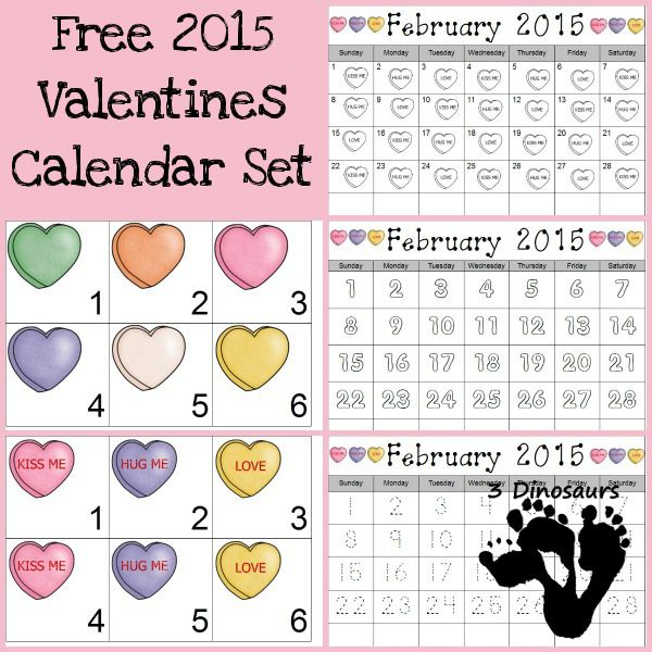 Free 2015 Valentines Calendar Printable - pattern cards and single page calendar sheet -  3Dinosaurs.com