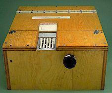 Early teaching machine used by B.F. Skinner.