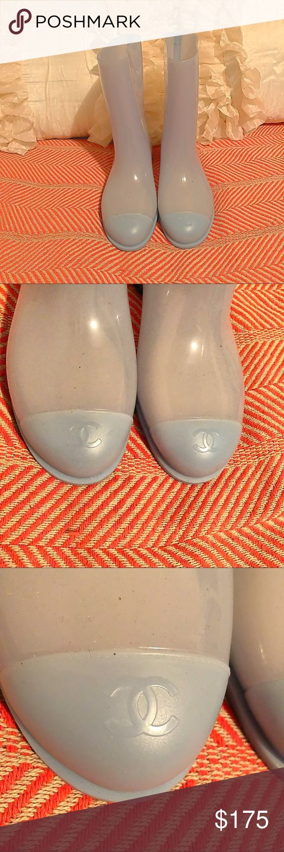 SALE💥AUTHENTIC Chanel pastel blue rainboots boots Authentic pastel blue rainboots by Chanel · size 39 ·general wear on soles · otherwise great condition  Lots of love left! Super cute but my feet are expanding. My loss, your gain! CHANEL Shoes Winter & Rain Boots