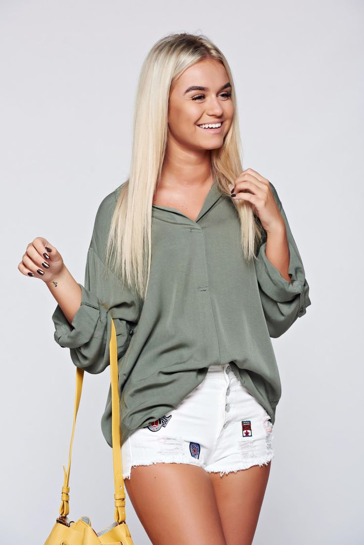 Elegant airy fabric easy cut darkgreen women`s blouse, women`s blouse, the sleeve is attached with a button, long sleeves, easy cut, airy fabric