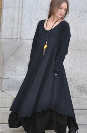 AMSTERDAM DRESS by KALIYANA Super soft cotton jersey makes this the perfect go-to dress for style and movement. With a deep scoop neck, full skirt with angled hem, and side pockets. It'll make you feel like dancing! $329.00 Accessories not included. -- SHONMODERN.COM --