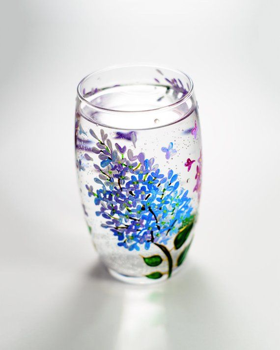Floral Wine Tumbler Lilac Flowers Wine Glasses Botanical Hand Etsy Flowers Wine Hand Painted Glasses Wine Tumblers