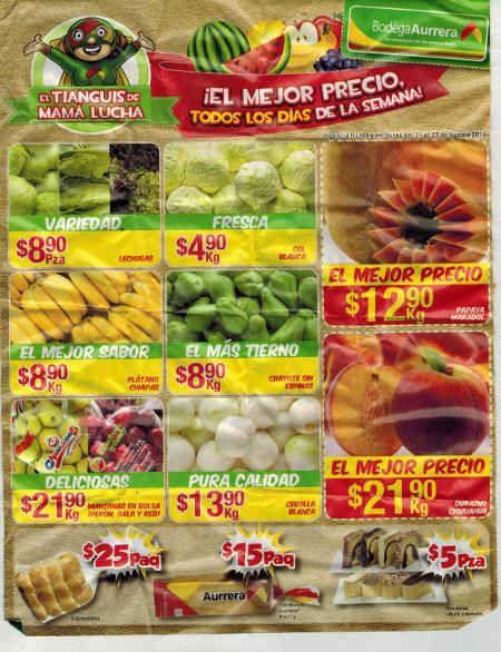 Bodega Aurrera: Frutas y Verduras del 21 al 27 de agosto