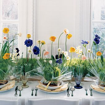 Spring flowers in wheat grass    Décor Ideas for Long Reception Tables : Wedding Flowers Gallery