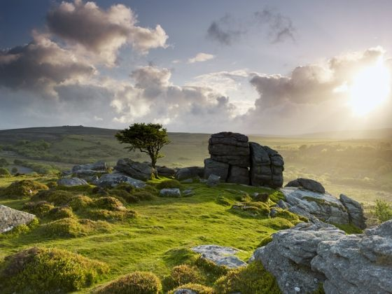 Shining Light - rocky outcrop near Saddle Tor - Dartmoor - Russell Stewart Stone