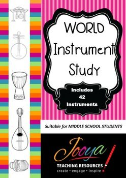 MUSIC- World Music Instrument StudyThis resource is designed to for Middle School Music students, but could be used for younger…