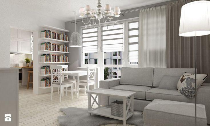 """metamorfoza kawalerki """"mała prowansja"""" - Średni salon z jadalnią, styl prowansalski - zdjęcie od Grafika i Projekt architektura wnętrz"""