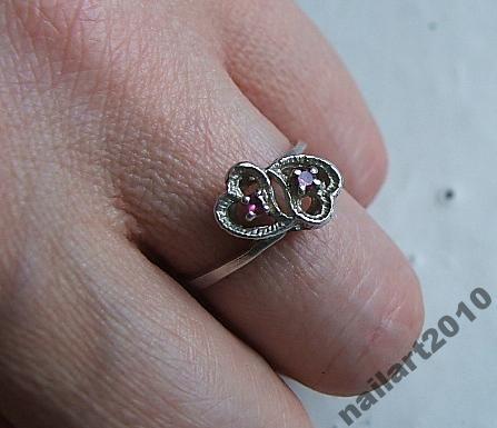 stary srebrny pierścionek rubin serce filigran GRA