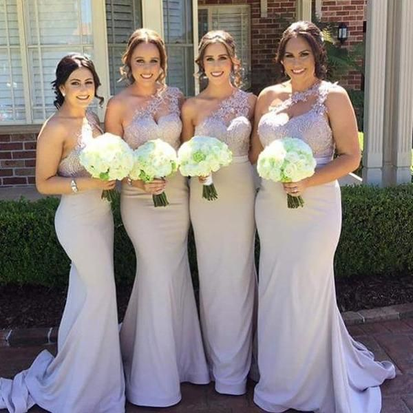 One Shoulder Mermaid Lace Top Sexy Long Wedding Party Bridesmaid Dresses, WG424 The long bridesmaid dresses are fully lined, 4 bones in the bodice, chest pad in the bust, lace up back or zipper back a