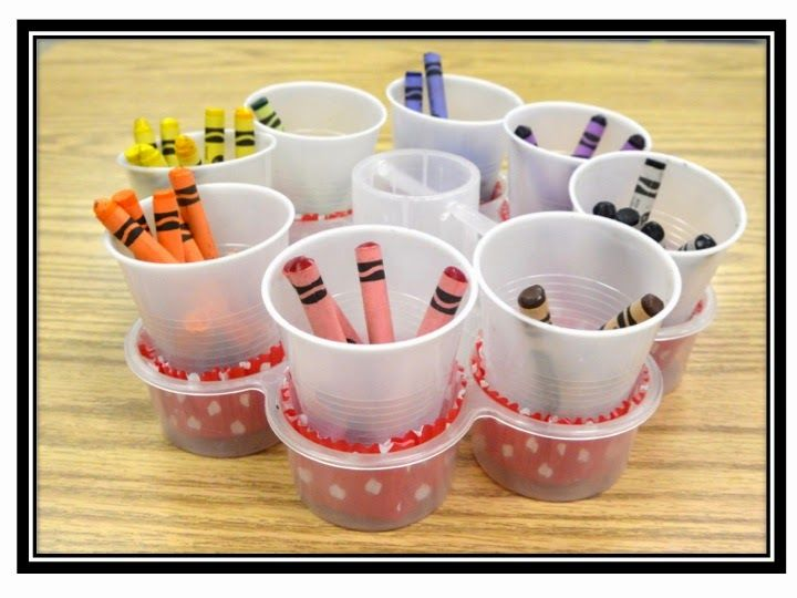 Organizing Crayons and Markers - cups in cupcake pans AND No More Clogging Glue Bottles!