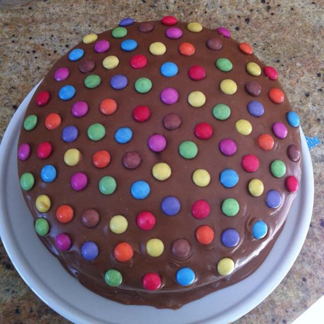 Chocolate smartie cake for Hannah's birthday