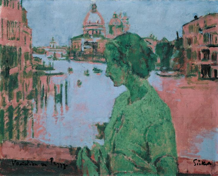 Variation on Peggy (1934-5) by Walter Richard Sickert. Portrait of the actress on the Accademia Bridge in Venice. The painting is based on a black-and-white press photograph published by the Radio Times in 1934. The vibrant but limited palette seems to refer to colours used in the four-colour printing process as seen in an advertisement on the back of the same edition of the magazine. The painting deliberately and unnervingly juxtaposes past and present.