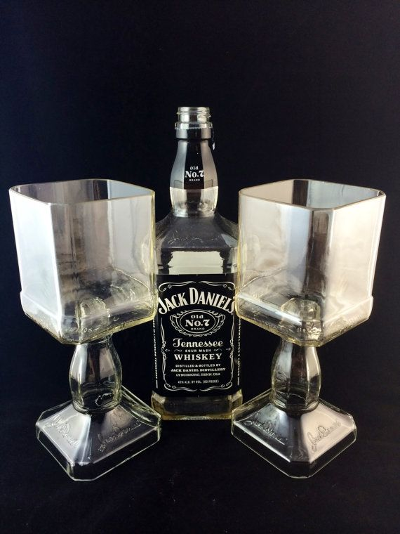 Jack Daniel's Whiskey bottle Goblet Set of 2 on Etsy, $40.00