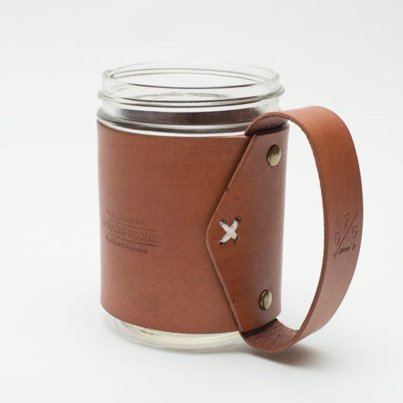 Mason Jar Leather Mug by Goforthgoods on Etsy, $25.00 [store is 25% off with code #happy4th through Sunday, 7/6]