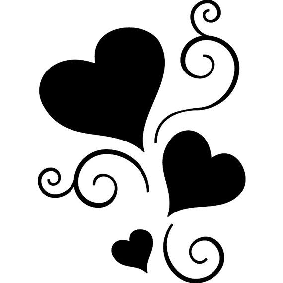 Scroll Hearts Sticker Tattoo Vinyl Decal by seeyou276 on Etsy, $17.00