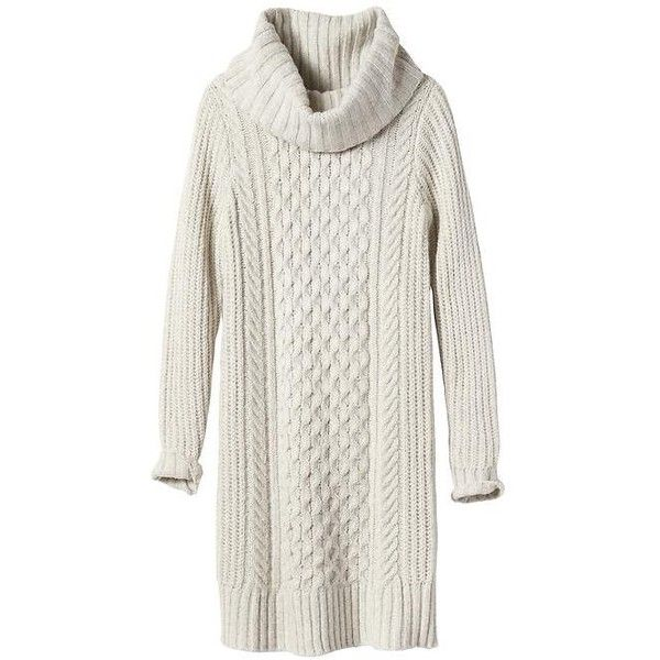 Banana Republic Women Cable Knit Turtleneck Sweater Dress ($35) ❤ liked on Polyvore featuring dresses, white long sleeve turtleneck, white sweater dress, cotton dress, long-sleeve turtleneck dresses and sweater dresses