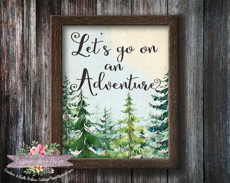 Let's Go On An Adventure Pine Trees Watercolor Printable Poster Camping Wall Art Print Sign Rustic Woodland Nursery Decor Instant Download by CottageMoonDesign on Etsy