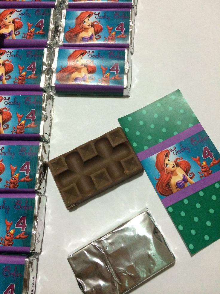 Chocolates para el Candy de la princesa Ariel. / little mermaid Ariel party themed DYI
