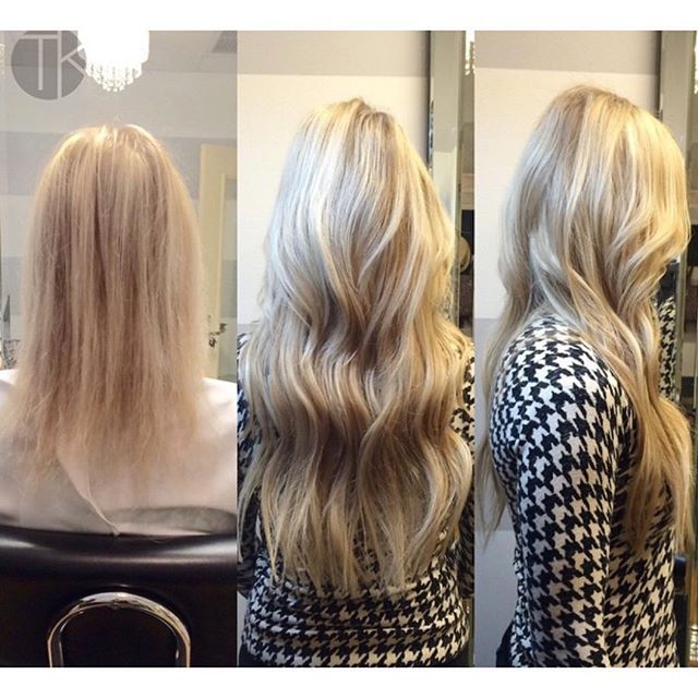 "Seeing the transformations of extension clients in pictures is AMAZING and even MORE amazing is seeing their confidence level transform as well.  Here we sewed in 2 rows of the TK Hybrid Weft using the ""TK Hybrid Sew-In Method"" (color 18/613 length 20inches)if you want to learn HOW this is done we offer online training on our website AND in person training. If you want more info on training DM me your email"