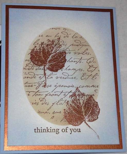 Strikingly elegant!: Su Falling Leaves Cards, Copper Leaves, Sympathy Cards, Fall Cards, Autumn Cards, Nan Cees, French Foliage, Paper Crafts, Strike Elegant