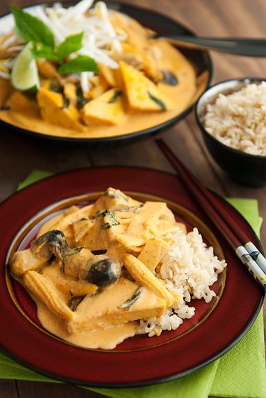 thai red curry with tofu and basil