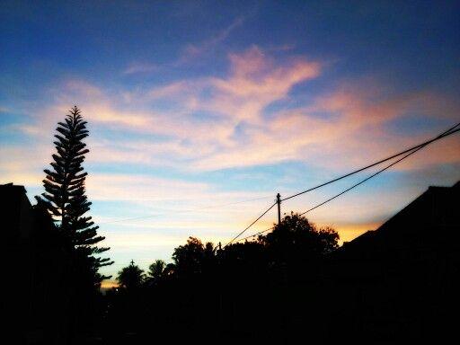 Sunset in suburbs