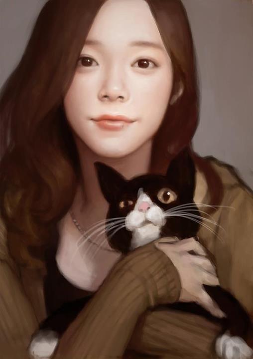 women n cat. from S.korea illustration KB