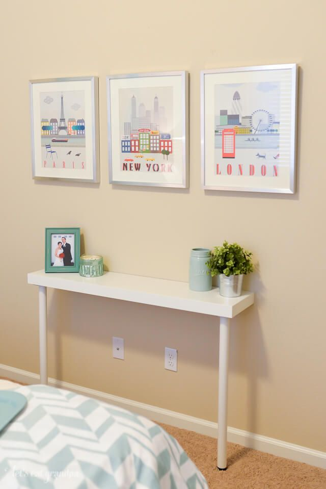 Narrow Entryway Table using IKEA lack shelf and legs for under $22