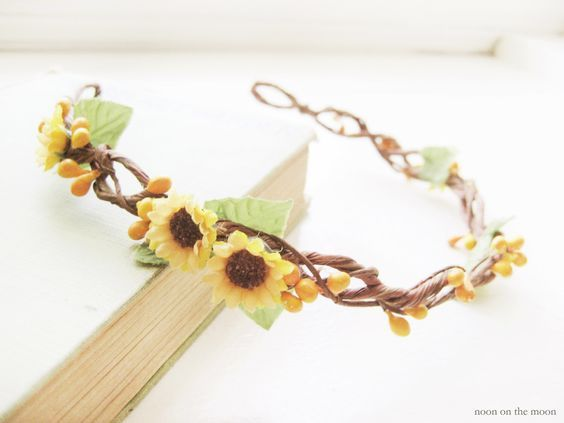 Sunflower wedding hair accessories, Yellow flower crown, Rustic bridal headpiece, Floral headband by NoonOnTheMoon on Etsy https://www.etsy.com/listing/158812037/sunflower-wedding-hair-accessories