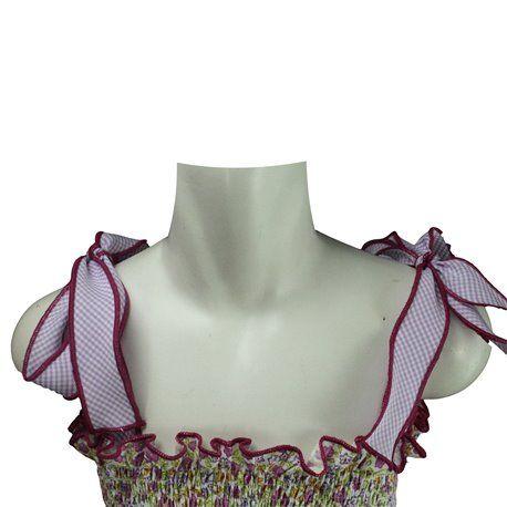 Vestito prendisole per bambina in cotone fondo bianco motivo a fiori di diverso colore con bretelle a nastro bordate, allacciatura a fiocco, corpino elasticizzato con arricciature