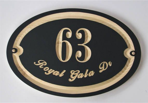 Oval  Carved Wood Address Sign  Painted Wood House Number