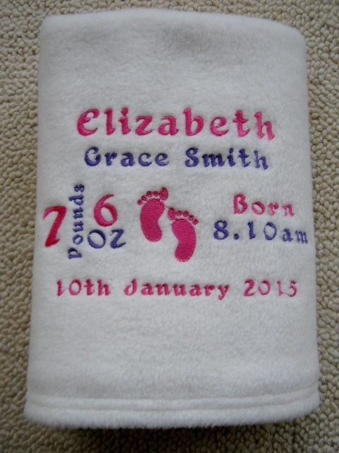 Personalised Baby Blanket - Ideal New Baby or Christening Gift  Super Soft Cream Fleece Blanket - 100% Polyester  Measures Approx. 100cm x 70cm  Embroidered with Footprints, Name, Date Of Birth, Time of Birth and Weight  Available in Pink embroidery for girls and Blue embroidery for boys   https://www.etsy.com/uk/listing/453918758/personalised-baby-blanket?ref=shop_home_active_2