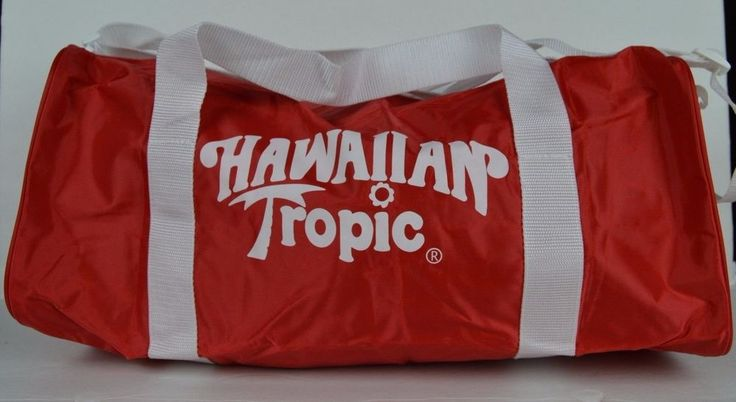 Hawaiian Tropic red duffle gym beach bag white straps #HawaiianTropic #DuffleGymBag