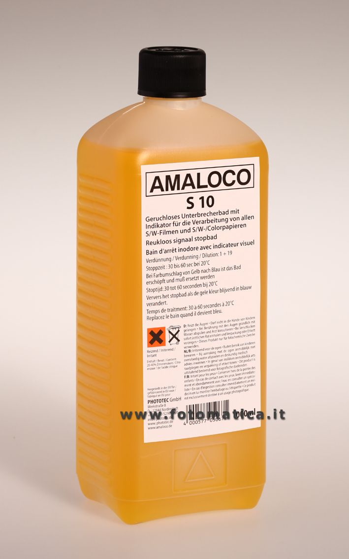 AMALOCO - S10 -Bagno di arresto inodore per carte e pellicole, con indicatore visuale di esaurimento.  http://www.fotomatica.it/contents/it/d138_chimici_amaloco.html
