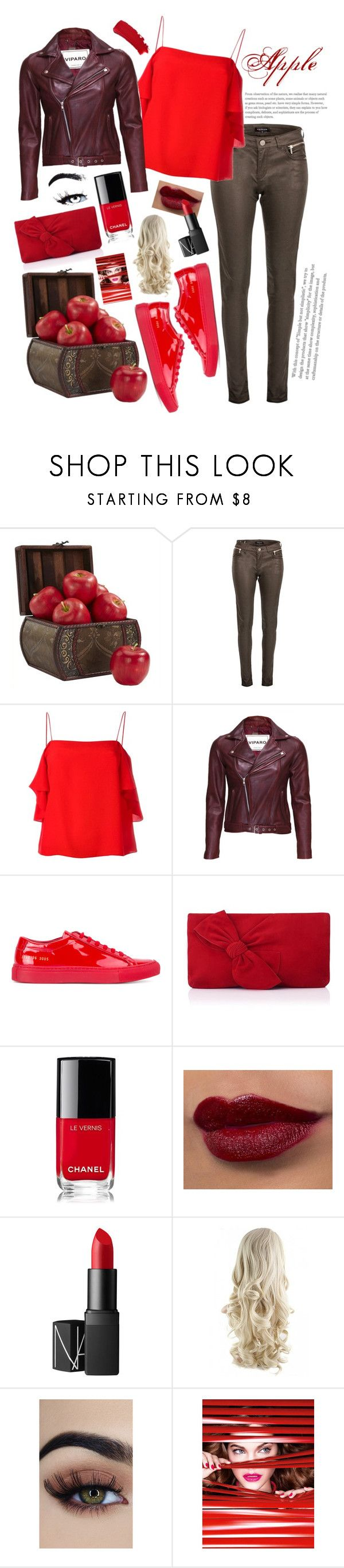 """Apple of my Eye"" by abbycookie ❤ liked on Polyvore featuring Nearly Natural, Morgan, Fendi, VIPARO, Common Projects, L.K.Bennett, Chanel, NARS Cosmetics and L'Oréal Paris"