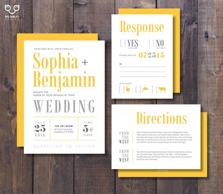 PRINTED Wedding Invitation, RSVP, Direction Card With Envelope, Modern  Yellow And Grey,