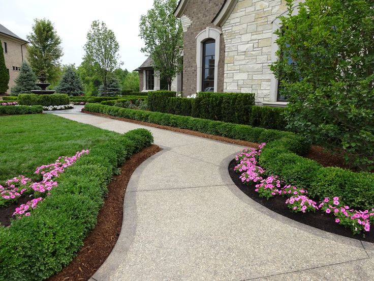 9 best images about front yard landscape on pinterest for Garden design ideas with hedges