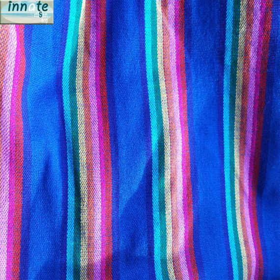 Mexican Cambaya fabric Blue with rainbow  by InnateArtisanShop