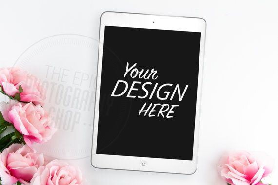 Styled Tablet Background / Stock Photography / Website / Web Design / Mobile / Tablet / ipad / Pink Flowers / Floral / T003