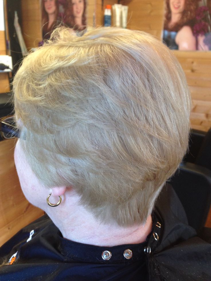 Ladies short layers  Taper into neck, covering half ears