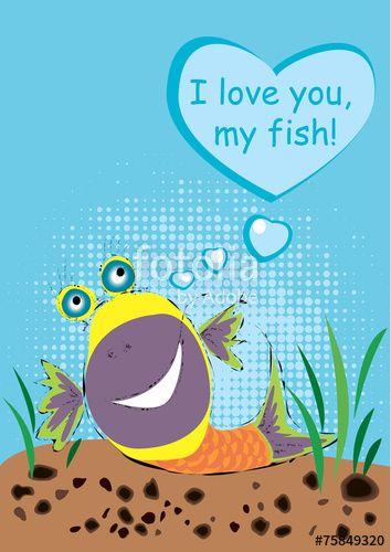 Вектор: рыбка и любовь