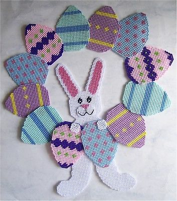 plastic canvas bird house | Easter Bunny-Bunnies and Eggs Wreath- Plastic Canvas Pattern