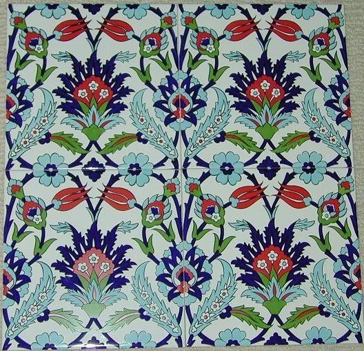 "Set of 12 Ottoman Iznik Style Red Tulip Design 8""x8"" Turkish Ceramic Tiles"